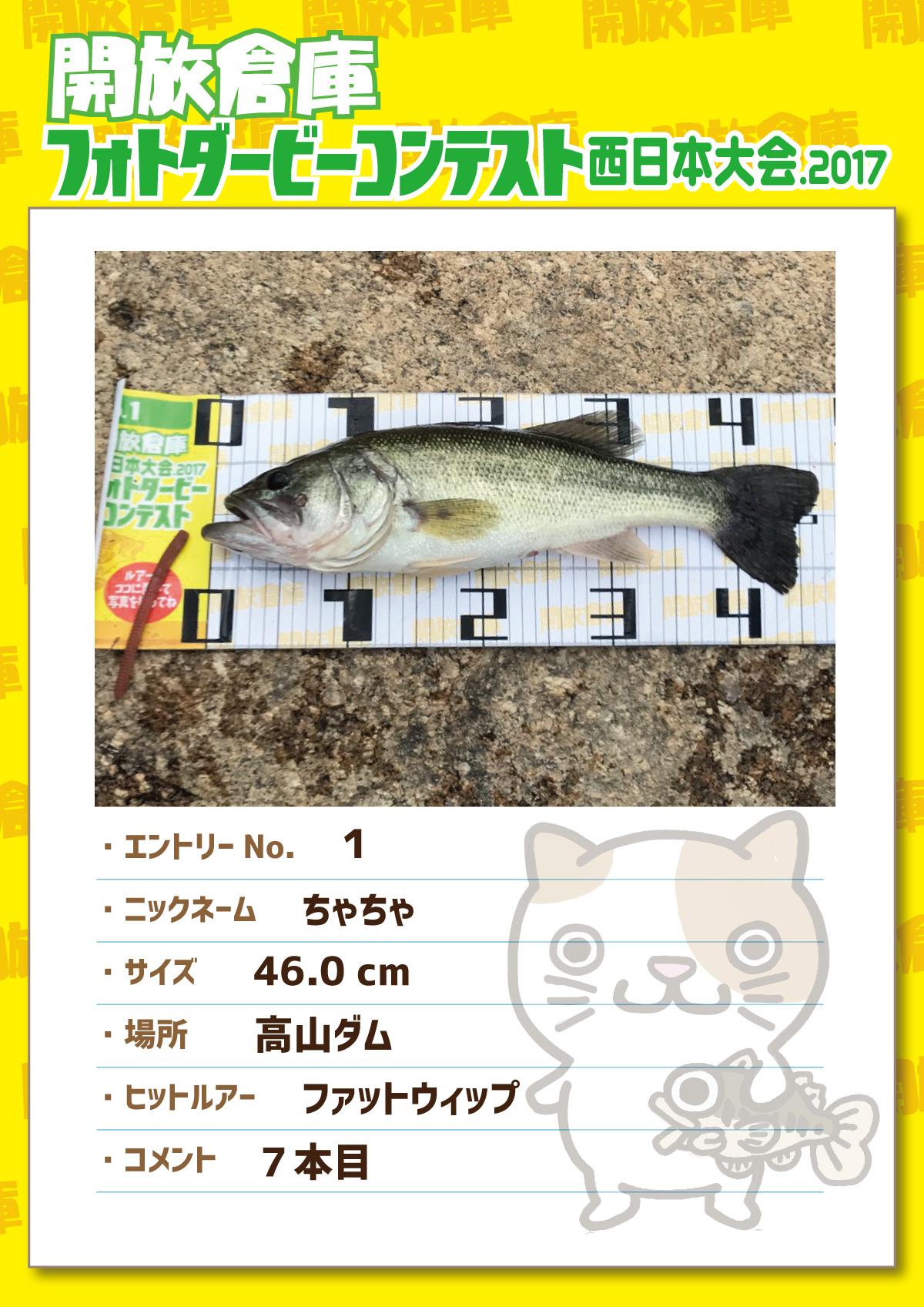 No.1 ちゃちゃ 46.0cm 高山ダム ファットウィップ 7本目