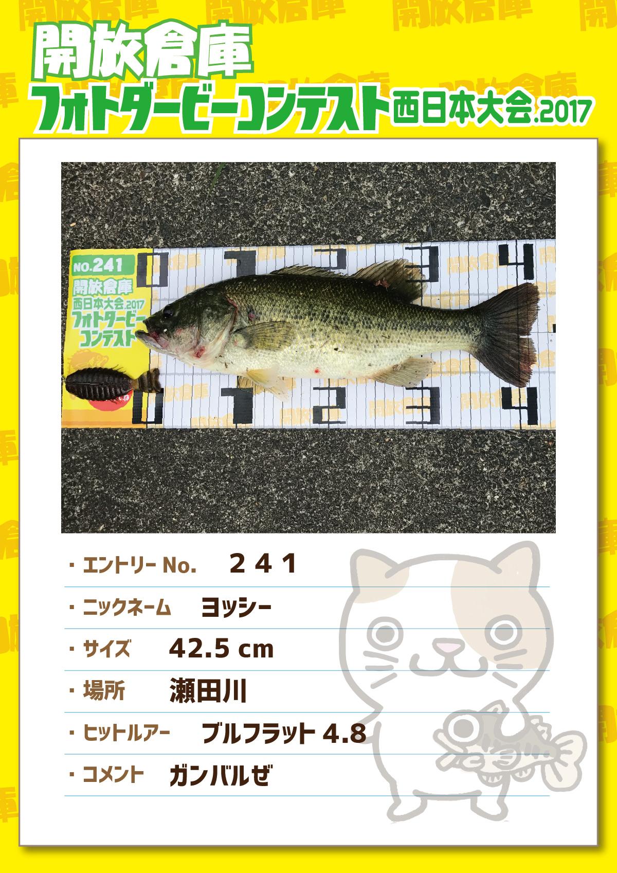 No.241 ヨッシー 42.5cm 瀬田川 ブルフラット4.8 ガンバルぜ