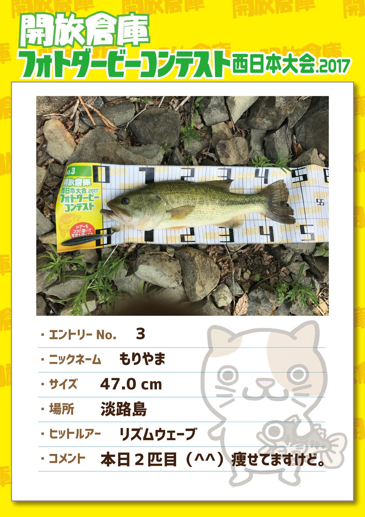 No.3 もりやま 47.0cm 淡路島 リズムウェーブ 本日2匹目(^^)痩せてますけど。