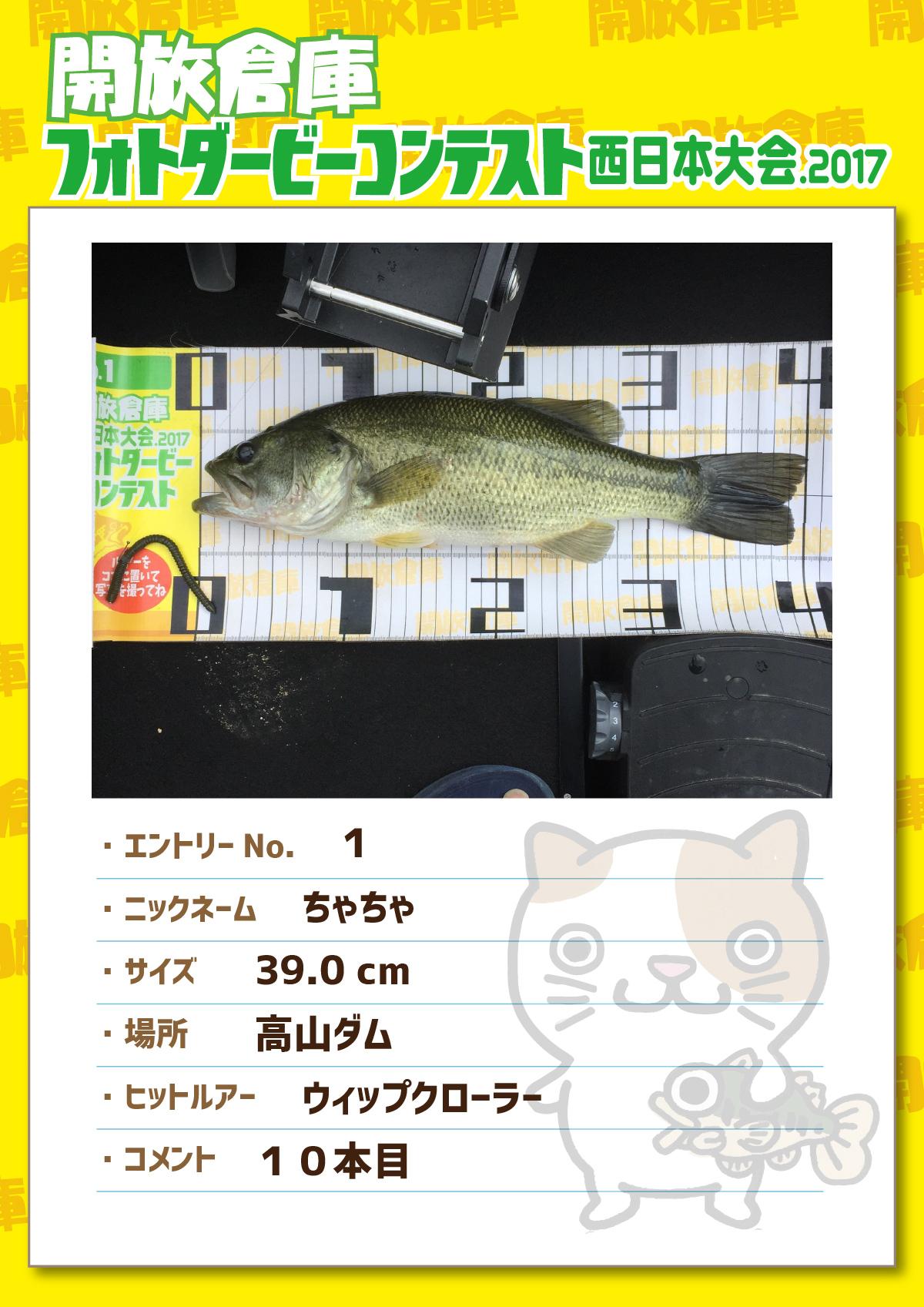No.001 ちゃちゃ 39.0cm 高山ダム ウィップクローラー 10本目