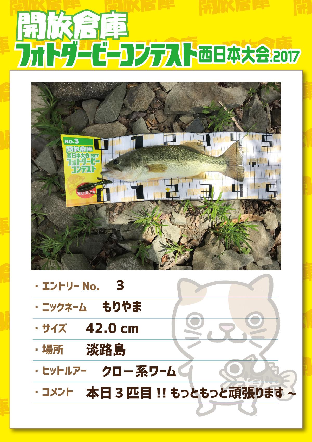 No.3 もりやま 42.0cm 淡路島 クロー系ワーム 本日3匹目!!もっともっと頑張ります~