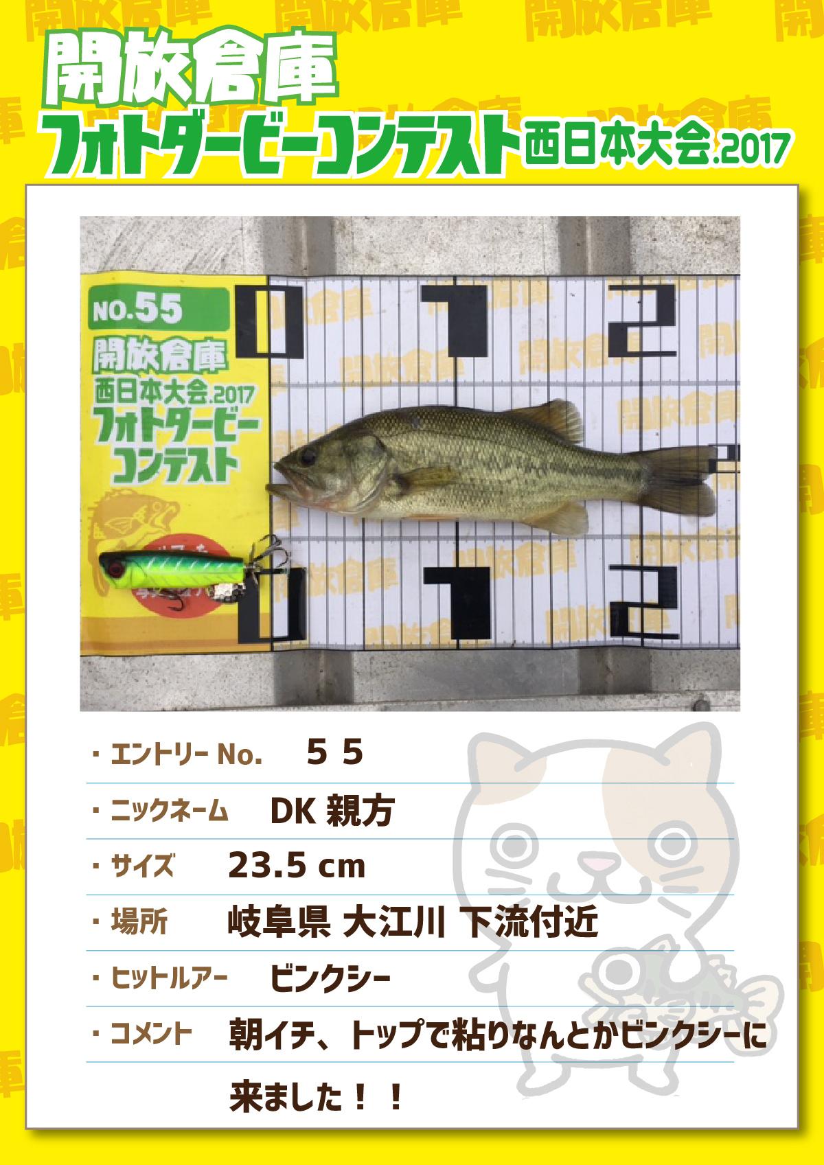 No.055 DK親方 23.5cm 岐阜県大江川下流付近 ビンクシー 朝イチ、トップで粘りなんとかビンクシーに来ました!!