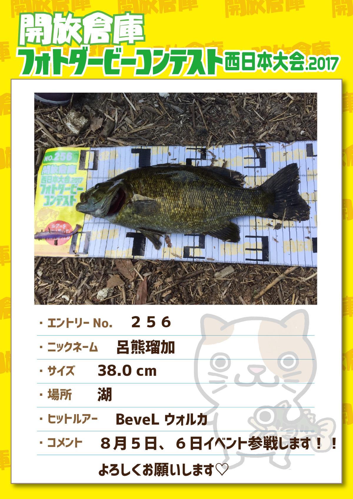 No.256 呂熊瑠加 38.0cm 湖 BeveLウォルカ 8月5日(土)、6日(日)イベント参戦します!!よろしくお願いします♡
