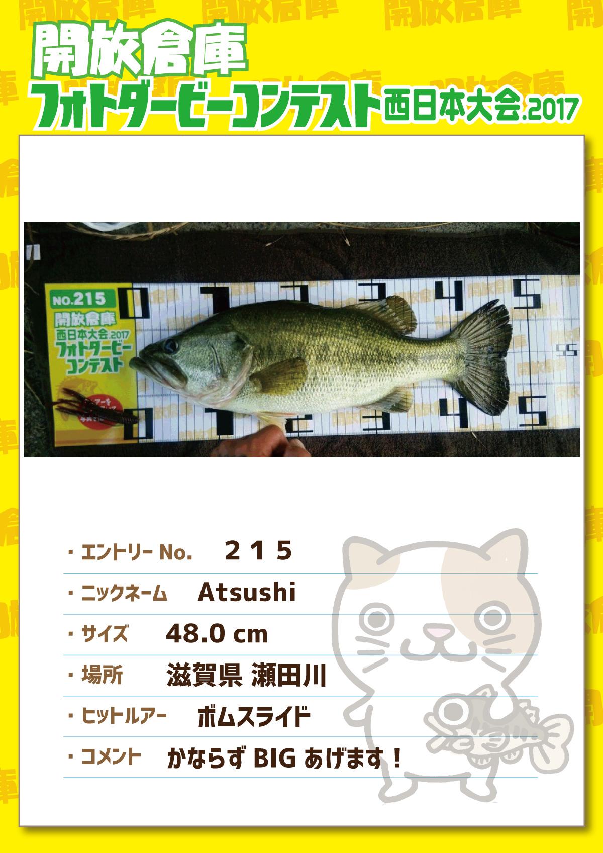 No.215 Atsushi 48.0cm 滋賀県瀬田川 ボムスライド かならずBIGあげます!
