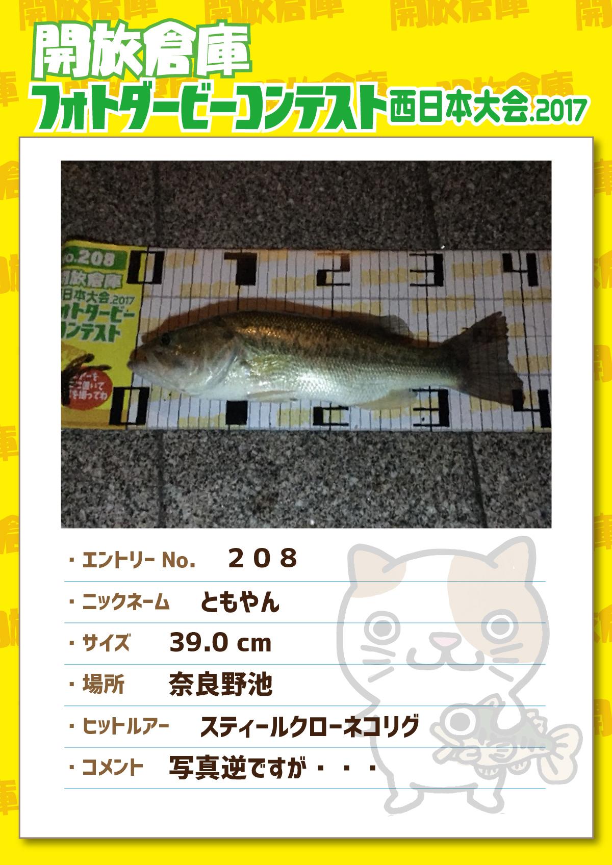 No.208 ともやん 39.0cm 奈良野池 スティールクローネコリグ 写真逆ですが・・・