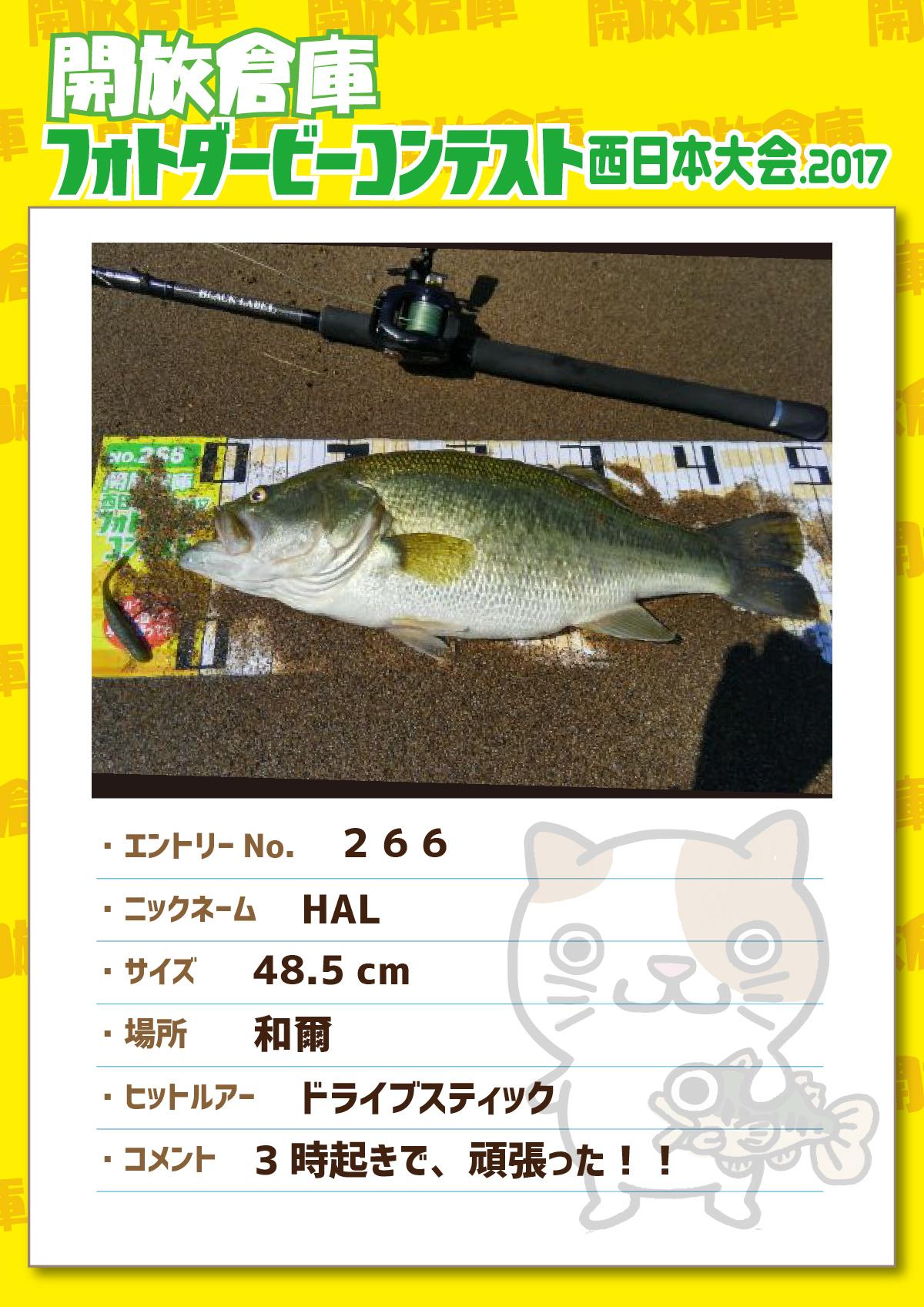 No.266 HAL 48.5cm 和爾 ドライブスティック 3時起きで、頑張った!!