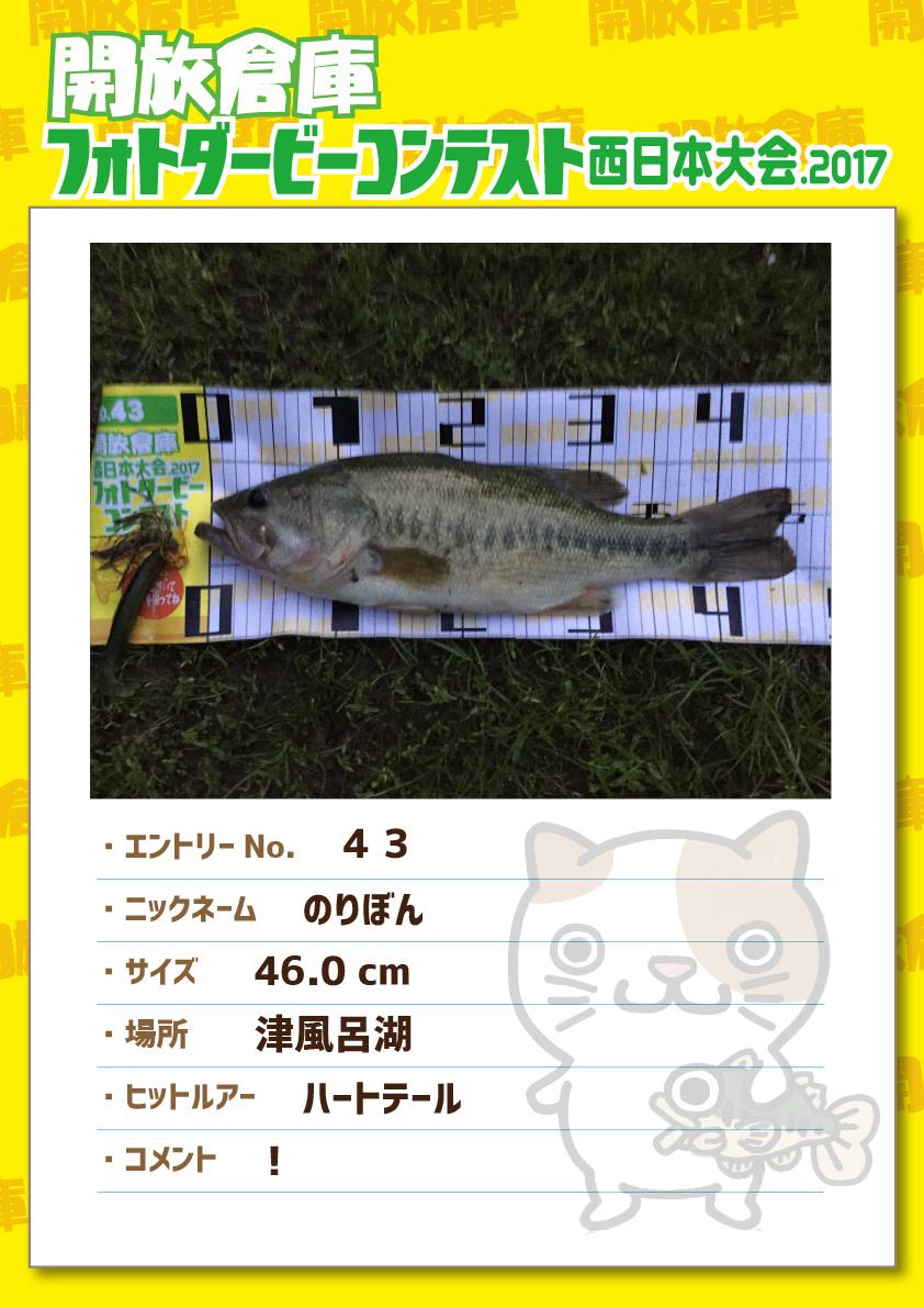 No.043 のりぼん 46.0cm 津風呂湖 ハートテール !
