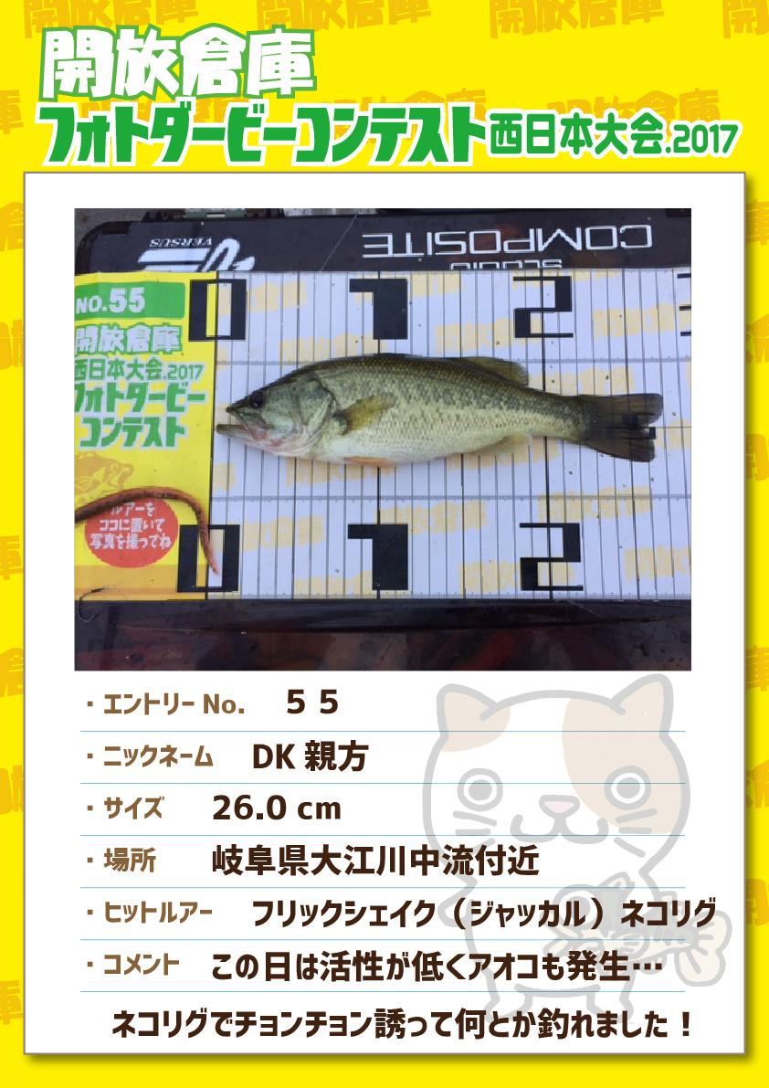 No.055 DK親方 26.0cm 岐阜県大江川中流付近 フリックシェイク(ジャッカル)ネコリグ この日は活性が低くアオコも発生・・・ネコリグでチョンチョン誘ってなんとか釣れました!