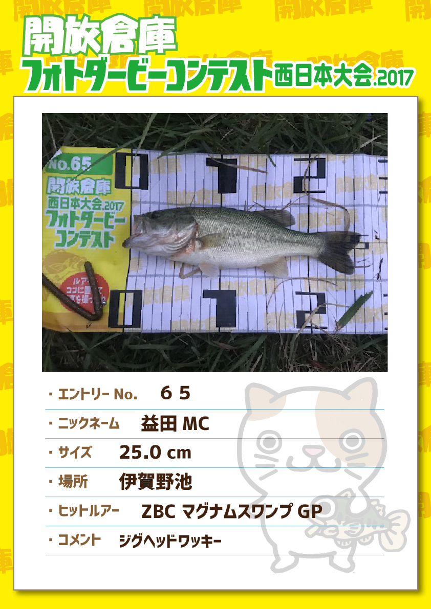 No.065 益田MC 25.0cm 伊賀野池 ZBCマグナムスワンプGP ジグヘッドワッキー
