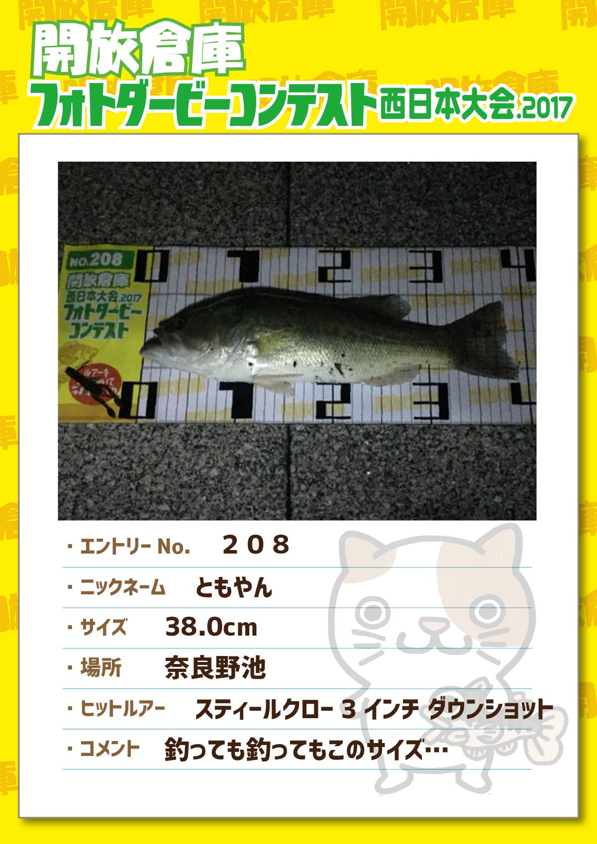 No.208 ともやん 38.0cm 奈良野池 スティールクロー3インチダウンショット 釣っても釣ってもこのサイズ…