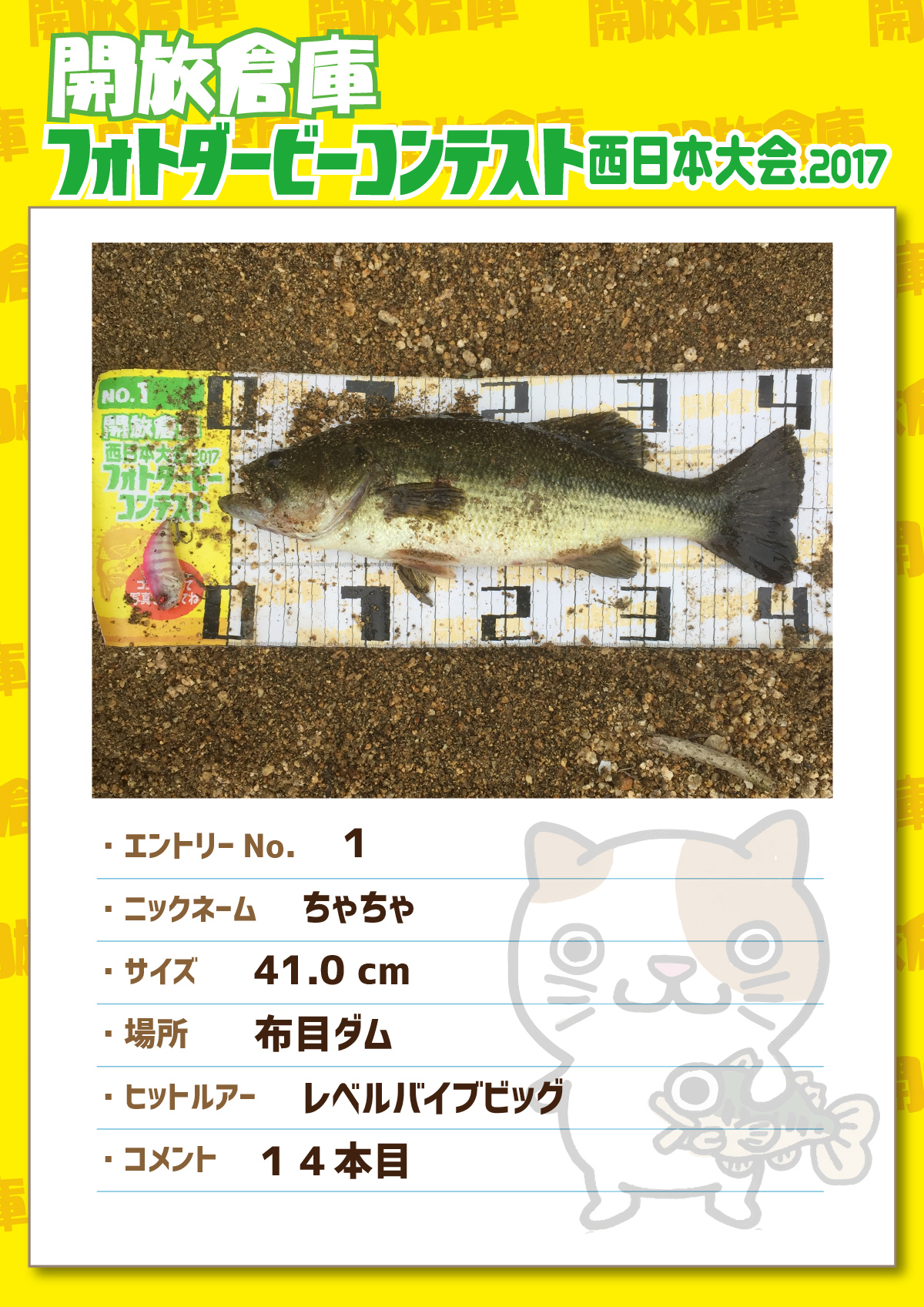 No.001 ちゃちゃ 41.0cm 布目ダム レベルバイブビッグ 14本目