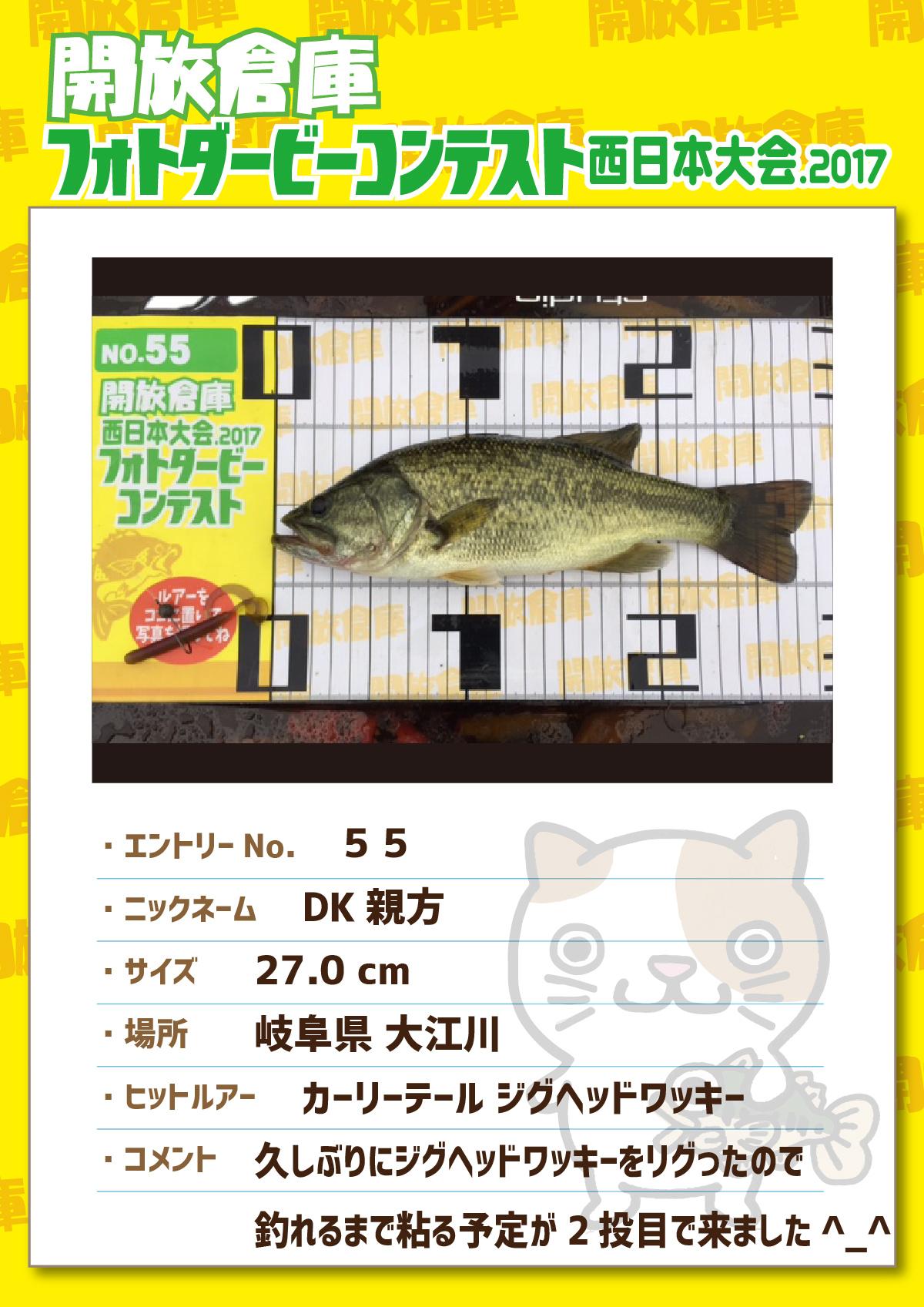 No.055 DK親方 27.0cm 岐阜県大江川 カーリーテール ジグヘッドワッキー 久しぶりにジグヘッドワッキーをリグったので釣れるまで粘る予定が2投目で来ました^_^