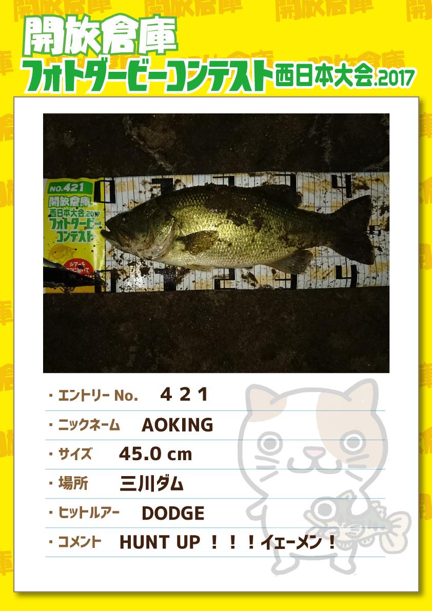 No.421 AOKING 45.0cm 三川ダム DODGE HUNTUP!!!イェーメン!