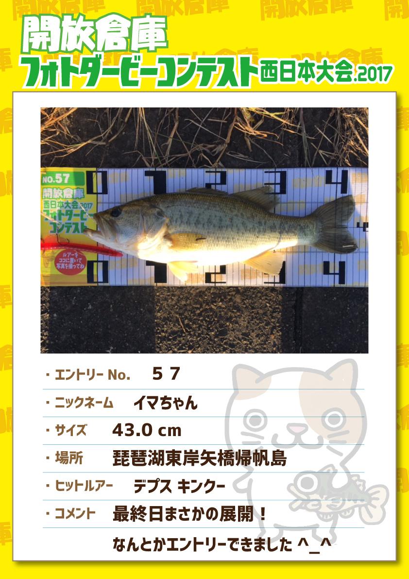 No.057 イマちゃん 43.0cm 琵琶湖東岸矢橋帰帆島 デプスキンクー 最終日まさかの展開!なんとかエントリーできました