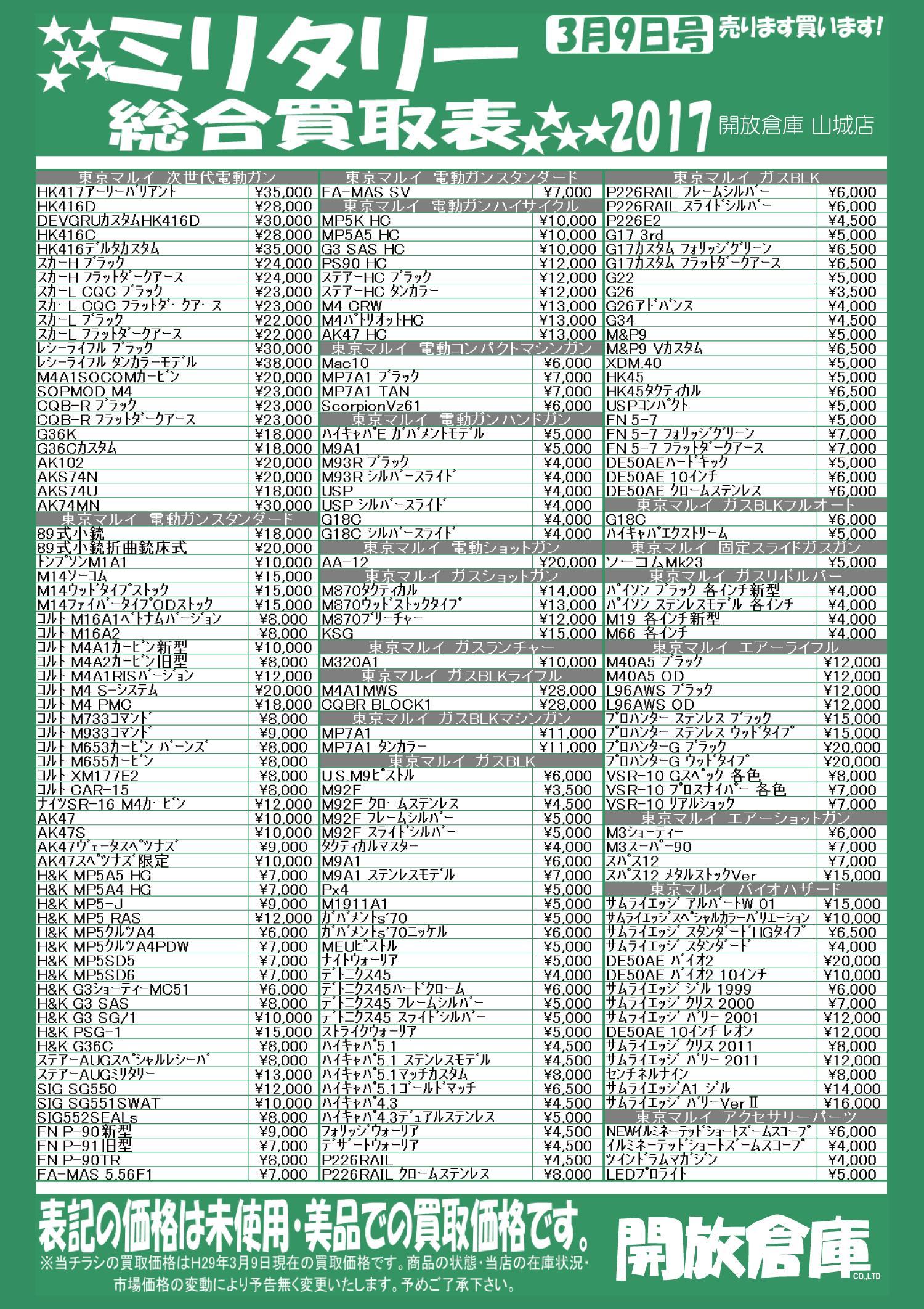「開放倉庫山城店」2017年3月ミリタリー総合買取表を更新しました!