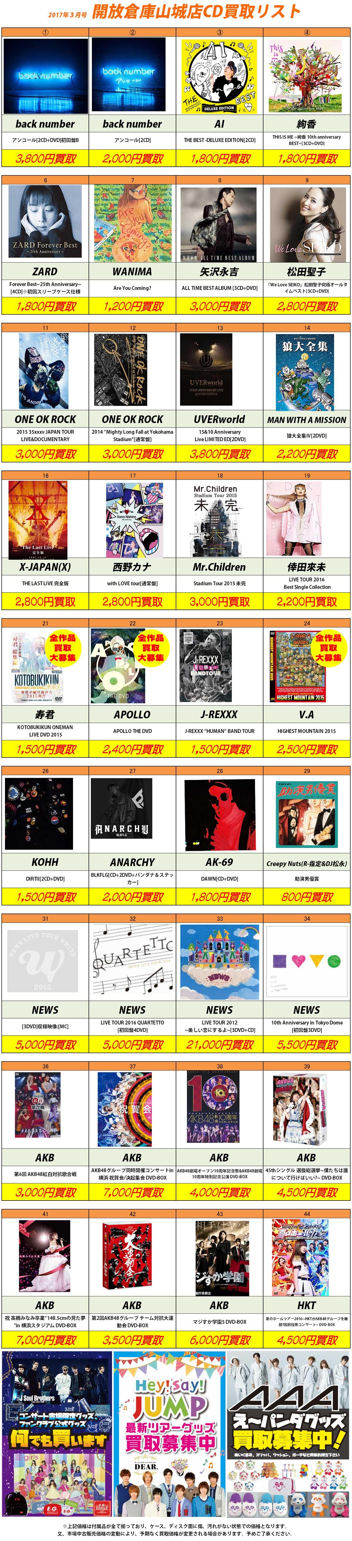「開放倉庫山城店」2017年3月のCD買取リスト