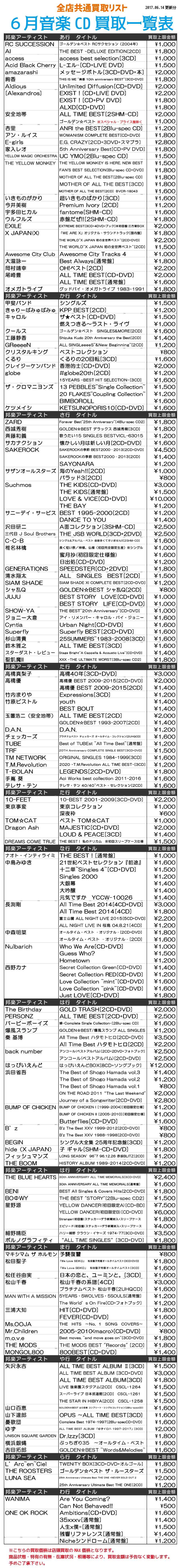 「開放倉庫山城店」2017.6.14更新分/邦楽・音楽CD買取表!!更新しました!