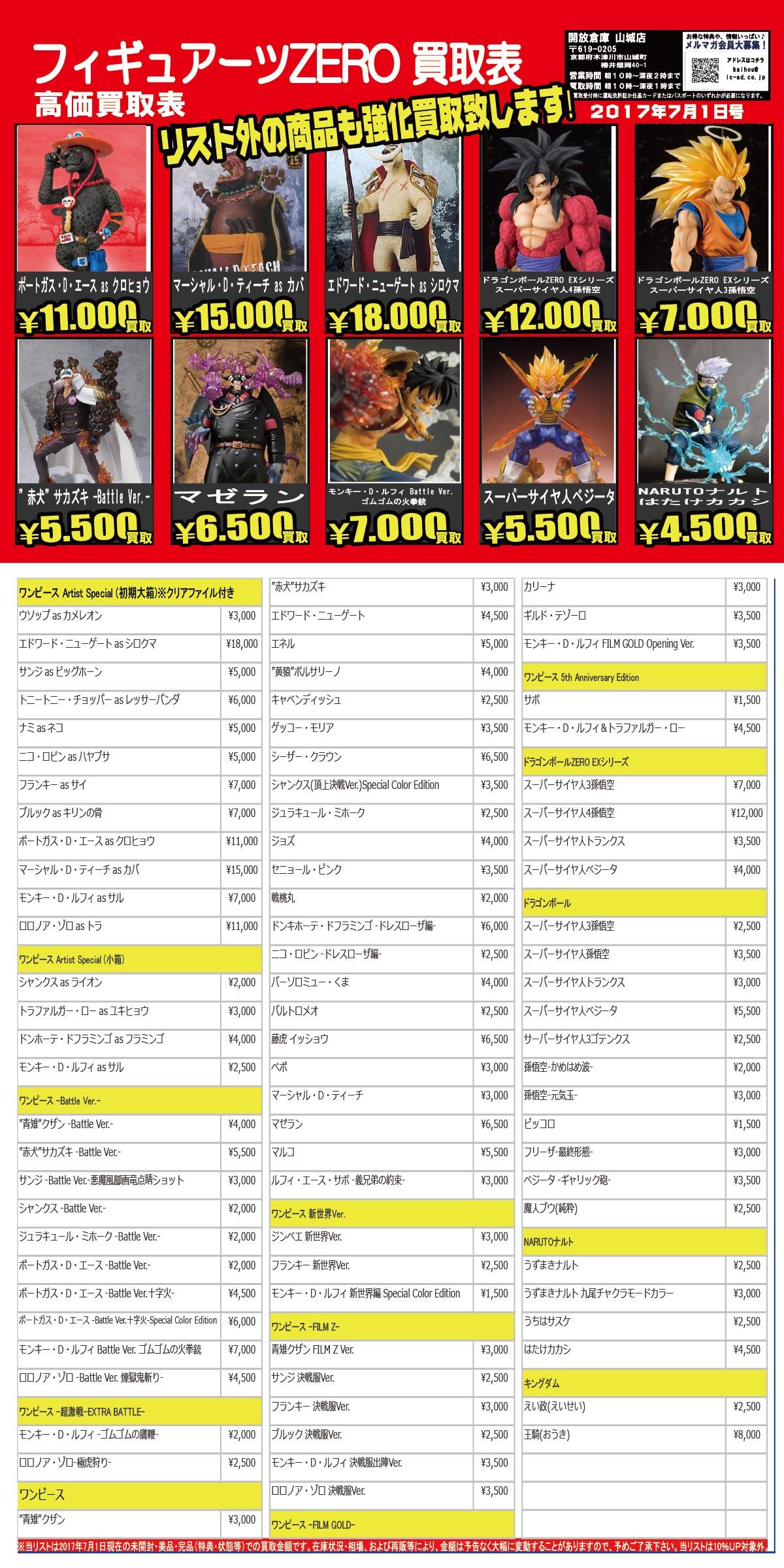 「開放倉庫山城店」2017.07フィギュアーツZERO買取表を更新しました!!ONE PIECE、ドラゴンボールZERO EX、NARUTOなどなど