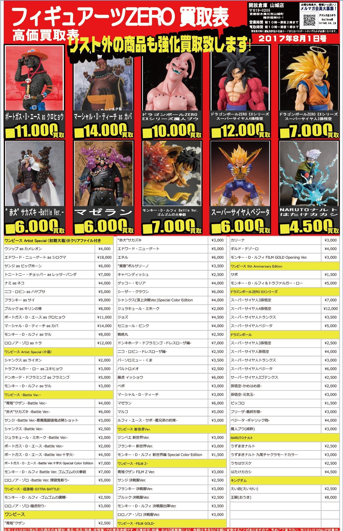 「開放倉庫山城店」おもちゃ買取表<8月1日号>フィギュアーツZERO高価買取表!リスト外の商品も強化買取いたします!