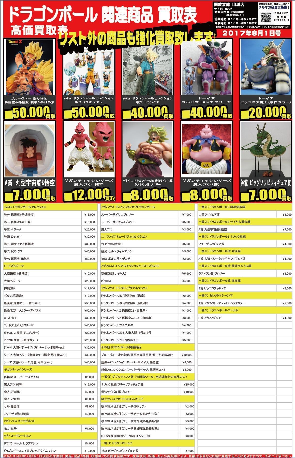 「開放倉庫山城店」おもちゃ買取表<8月1日号>ドラゴンボール関連商品高価買取表!リスト外の商品も強化買取いたします!