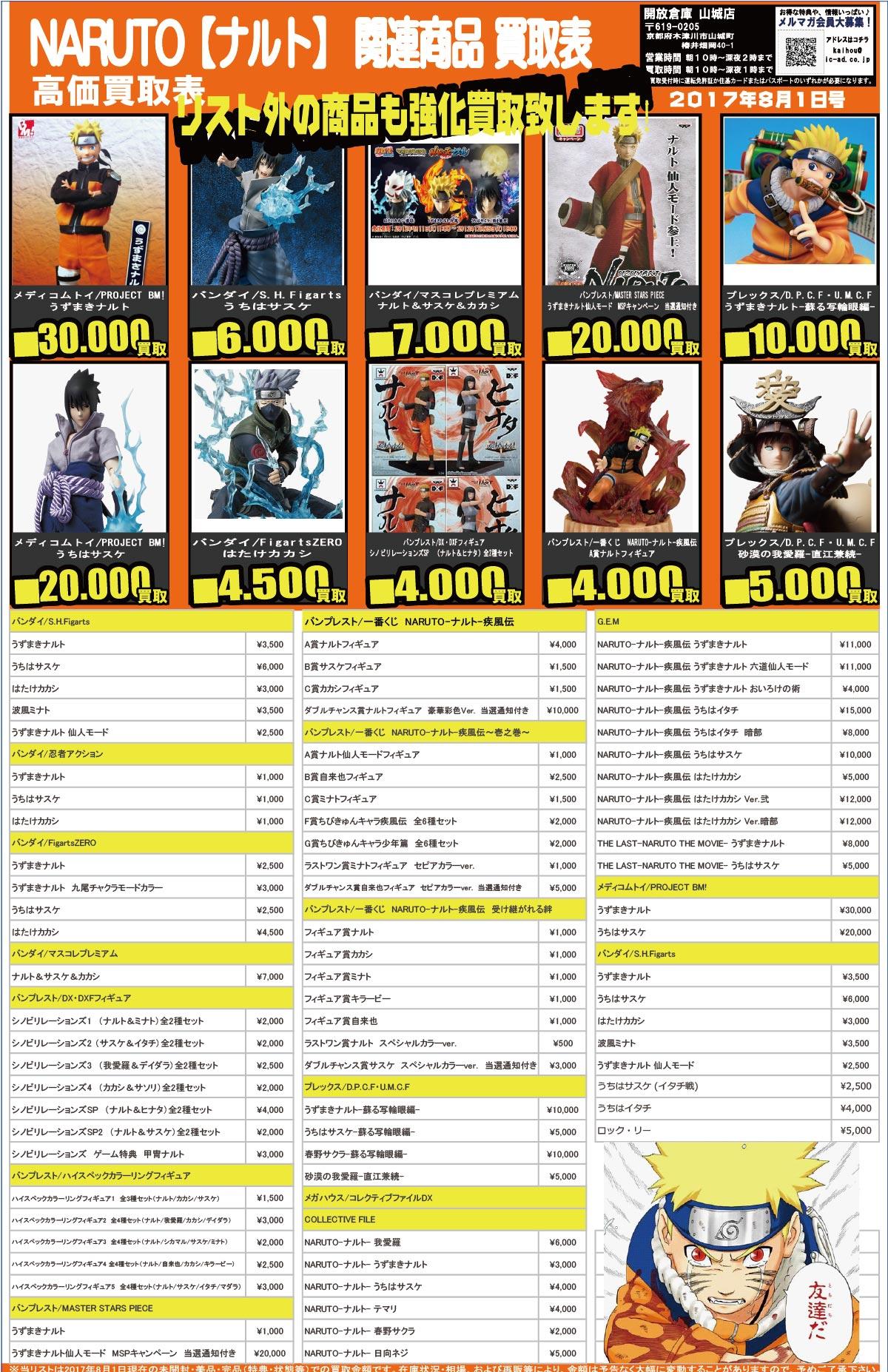 「開放倉庫山城店」おもちゃ買取表<8月1日号>NARUTO【ナルト】関連商品、高価買取表!リスト外の商品も強化買取いたします!