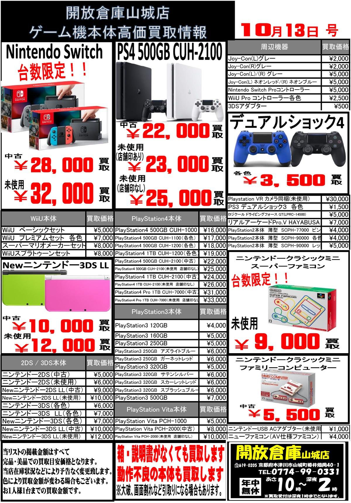 「開放倉庫山城店」10月13日号<ゲーム機本体高価買取情報>を更新!Nintendo Switch<未使用品32,000円買取、台数限定>、PS4 500GB CUH-2100<未使用品・店印なし25、000円買取>、ニンテンドークラシックミニスーパーファミコン<未使用品9,000円買取>、ニンテンドークラシックミニファミリーコンピューター<中古5,500円買取>強化買取中!!
